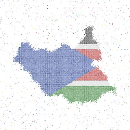 Map of South Sudan. Mosaic style map with flag of South Sudan. Vector illustration.