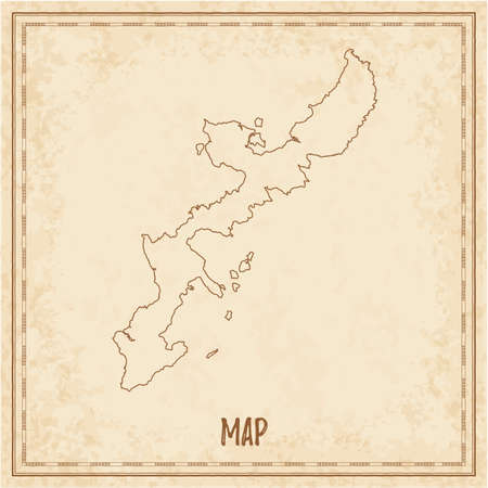 Pirate map of Okinawa Island. Blank vector map of the Island. Vector illustration.
