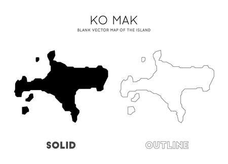 Ko Mak map. Blank vector map of the Island. Borders of Ko Mak for your infographic. Vector illustration.
