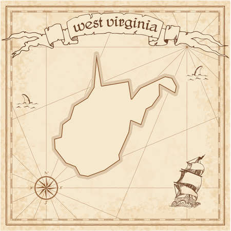 West Virginia treasure map. Ancient style map template. Old us state borders. Vector illustration.