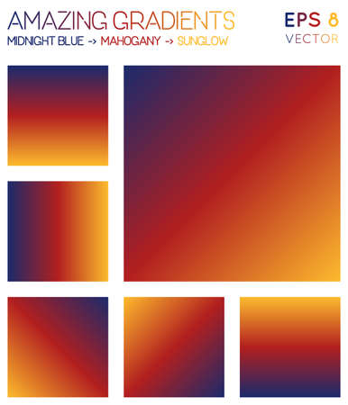 Colorful gradients in midnight blue, mahogany, sunglow color tones. Adorable gradient background, charming vector illustration.