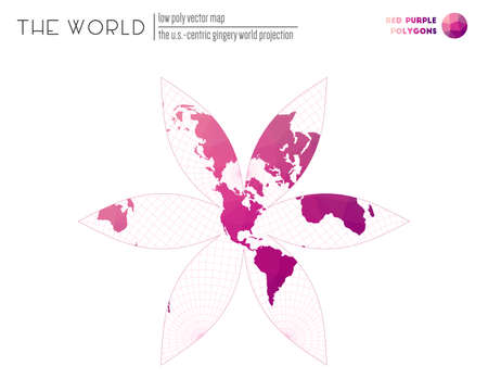 Abstract world map. The U.S.-centric Gingery world projection of the world. Red Purple colored polygons. Elegant vector illustration.