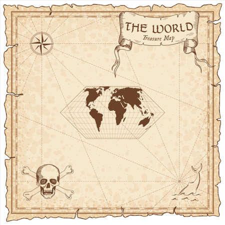World treasure map. Pirate navigation atlas. Eckert II projection. Old map vector. Illustration