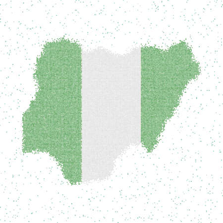 Map of Nigeria. Mosaic style map with flag of Nigeria. Vector illustration.