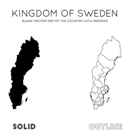 Sweden map. Blank vector map of the Country with regions. Borders of Sweden for your infographic. Vector illustration. Illusztráció