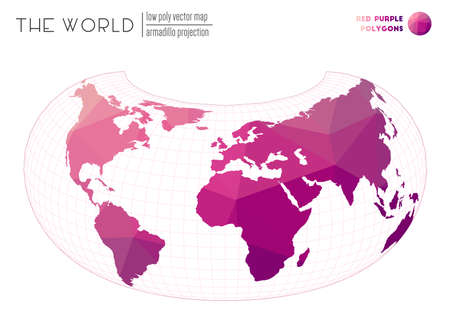 Polygonal world map. Armadillo projection of the world. Red Purple colored polygons. Energetic vector illustration. Illusztráció