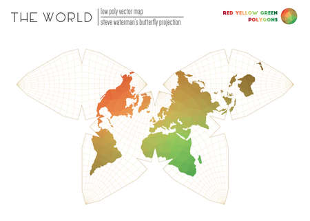 World map in polygonal style. Steve Watermans butterfly projection of the world. Red Yellow Green colored polygons. Contemporary vector illustration.