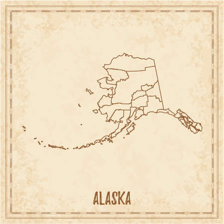 Pirate map of Alaska. Blank vector map of the Us State with counties. Vector illustration.