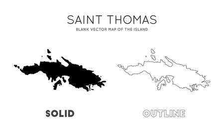 Saint Thomas map. Blank vector map of the Island. Borders of Saint Thomas for your infographic. Vector illustration.