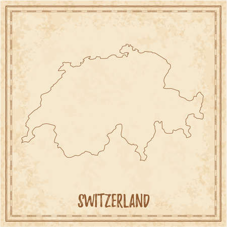Pirate map of Switzerland. Blank vector map of the Country. Vector illustration.