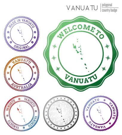 Vanuatu badge. Colorful polygonal country symbol. Multicolored geometric Vanuatu logos set. Vector illustration.