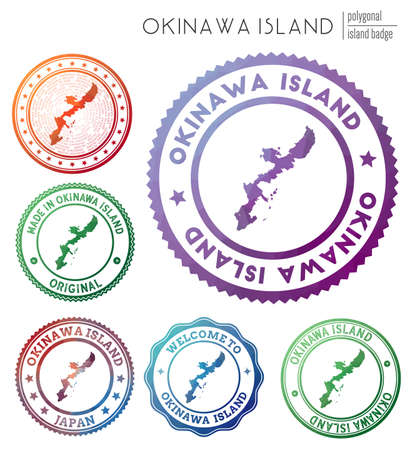 Okinawa Island badge. Colorful polygonal island symbol. Multicolored geometric Okinawa Island logos set. Vector illustration.