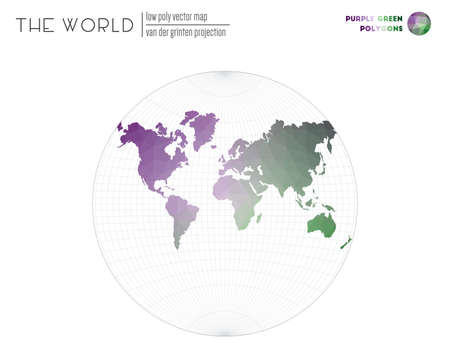 Low poly design of the world. Van der Grinten projection of the world. Purple Green colored polygons. Awesome vector illustration.