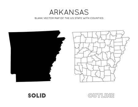 Arkansas map. Blank vector map of the Us State with counties. Borders of Arkansas for your infographic. Vector illustration. Фото со стока - 130687335