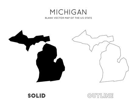 Michigan map. Blank vector map of the Us State. Borders of Michigan for your infographic. Vector illustration.