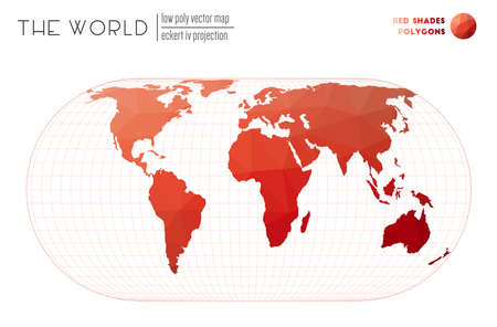 Abstract world map. Eckert IV projection of the world. Red Shades colored polygons. Trending vector illustration.