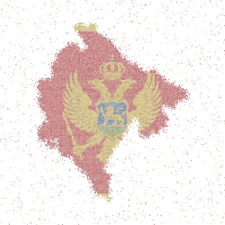 Map of Montenegro. Mosaic style map with flag of Montenegro. Vector illustration.