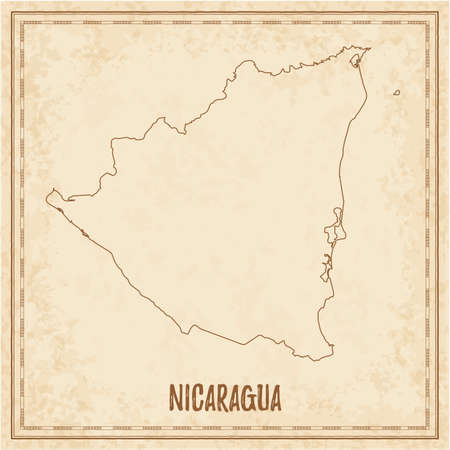 Pirate map of Nicaragua. Blank vector map of the Country. Vector illustration.