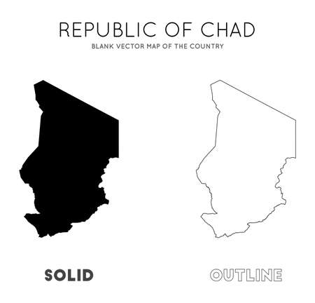 Chad map. Blank vector map of the Country. Borders of Chad for your infographic. Vector illustration.