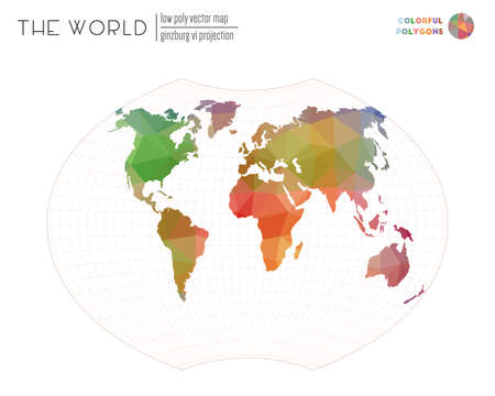 Abstract geometric world map. Ginzburg VI projection of the world. Colorful colored polygons. Energetic vector illustration.