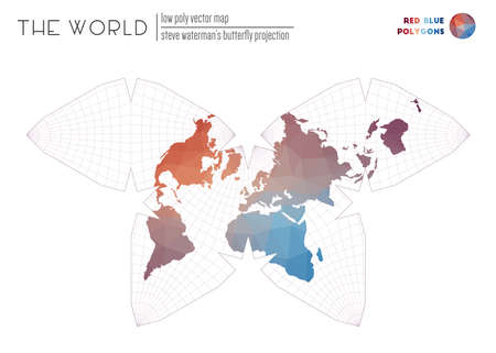 Low poly design of the world. Steve Waterman's butterfly projection of the world. Red Blue colored polygons. Energetic vector illustration.