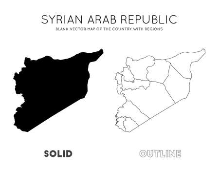 Syria map. Blank vector map of the Country with regions. Borders of Syria for your infographic. Vector illustration. Illusztráció