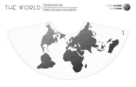 World map with vibrant triangles. Albers conic equal-area projection of the world. Grey Shades colored polygons. Stylish vector illustration. Çizim