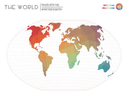Abstract world map. Winkel tripel projection of the world. Spectral colored polygons. Contemporary vector illustration.