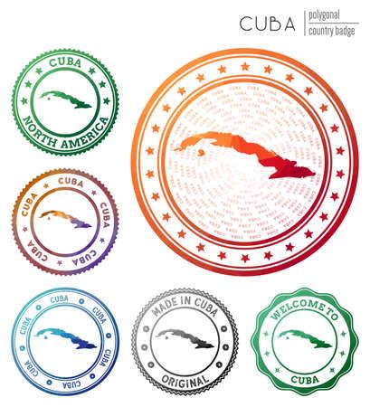 Cuba badge. Colorful polygonal country symbol. Multicolored geometric Cuba logos set. Vector illustration. Stock Illustratie