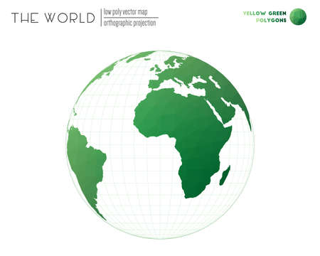 Polygonal world map. Orthographic projection of the world. Yellow Green colored polygons. Contemporary vector illustration.