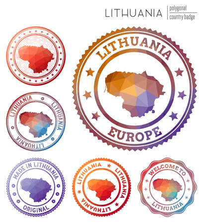 Lithuania badge. Colorful polygonal country symbol. Multicolored geometric Lithuania logos set. Vector illustration. 일러스트