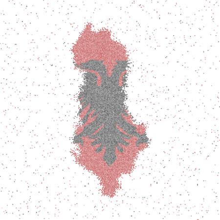 Map of Albania. Mosaic style map with flag of Albania. Vector illustration.