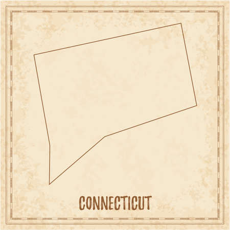 Pirate map of Connecticut. Blank vector map of the Us State. Vector illustration. Illusztráció