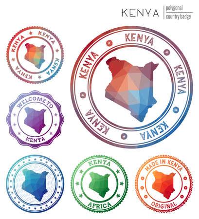 Kenya badge. Colorful polygonal country symbol. Multicolored geometric Kenya logos set. Vector illustration. Logo