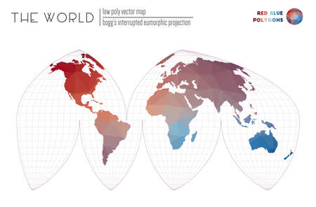 World map with vibrant triangles. Boggs interrupted eumorphic projection of the world. Red Blue colored polygons. Energetic vector illustration.