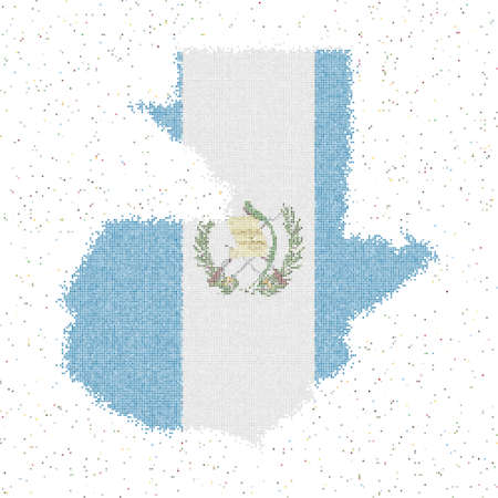 Map of Guatemala. Mosaic style map with flag of Guatemala. Vector illustration.