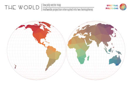 Low poly world map. Mollweide projection interrupted into two hemispheres of the world. Spectral colored polygons. Neat vector illustration.
