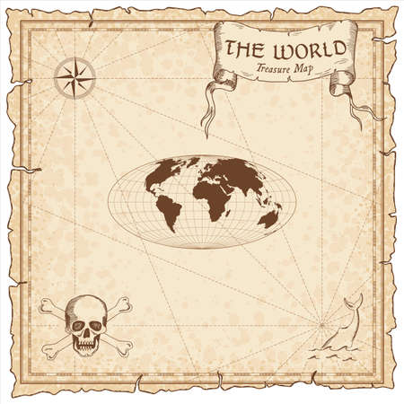 World treasure map. Pirate navigation atlas. Hammer projection. Old map vector.