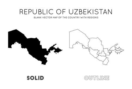 Uzbekistan map. Blank vector map of the Country with regions. Borders of Uzbekistan for your infographic. Vector illustration. Illusztráció