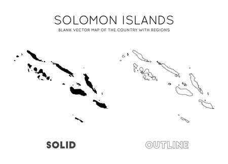 Solomon Islands map. Blank vector map of the Country with regions. Borders of Solomon Islands for your infographic. Vector illustration. Illusztráció