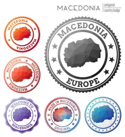 Macedonia badge. Colorful polygonal country symbol. Multicolored geometric Macedonia logos set. Vector illustration.