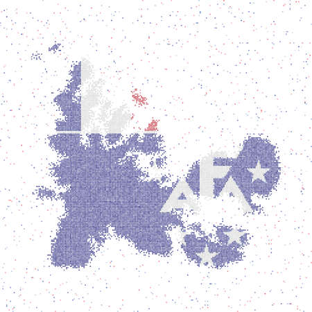 Map of TAAF. Mosaic style map with flag of TAAF. Vector illustration.