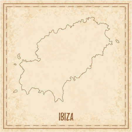 Pirate map of Ibiza. Blank vector map of the Island. Vector illustration.
