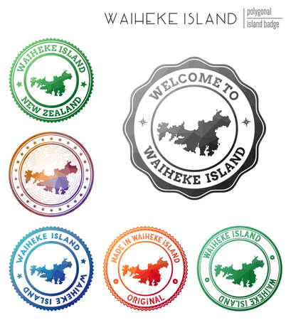 Waiheke Island badge. Colorful polygonal island symbol. Multicolored geometric Waiheke Island logos set. Vector illustration.