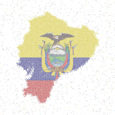 Map of Ecuador. Mosaic style map with flag of Ecuador. Vector illustration.
