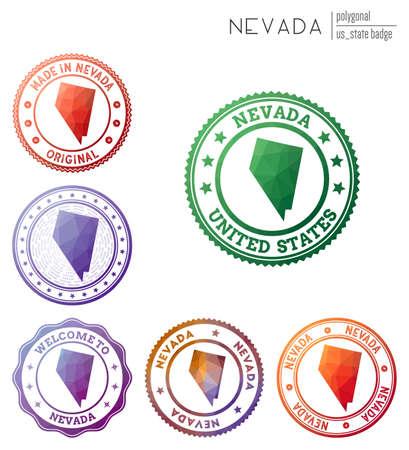 Nevada badge. Colorful polygonal us state symbol. Multicolored geometric Nevada logos set. Vector illustration. 일러스트