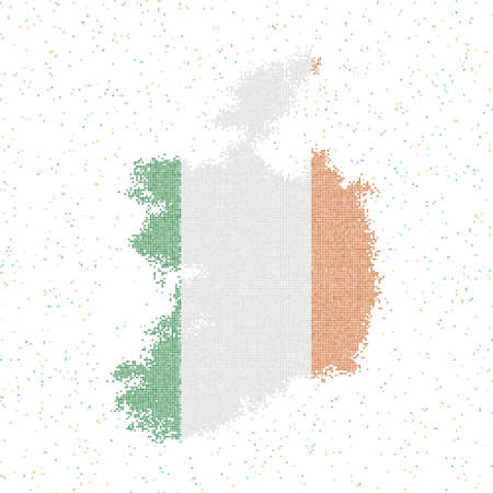 Map of Ireland. Mosaic style map with flag of Ireland. Vector illustration.