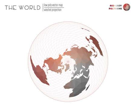 Design low poly del mondo. Proiezione di Wiechel del mondo. Poligoni di colore rosso grigio. Illustrazione vettoriale contemporanea.