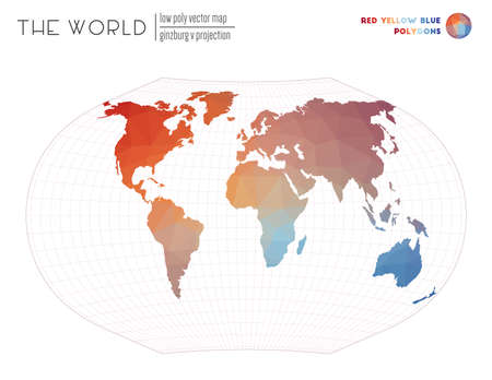 Abstract geometric world map. Ginzburg V projection of the world. Red Yellow Blue colored polygons. Modern vector illustration. 일러스트