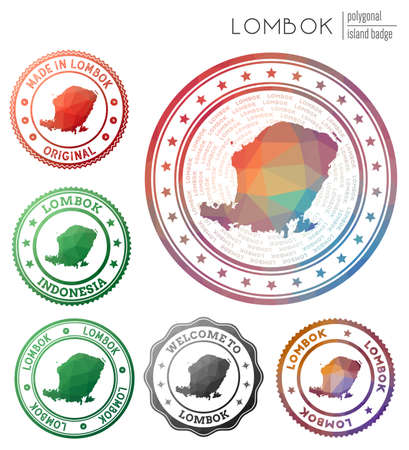 Lombok badge. Colorful polygonal island symbol. Multicolored geometric Lombok logos set. Vector illustration.